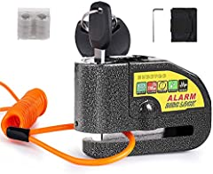 Candado Moto, BUDDYGO Candado Cerradura 7mm con Alarma 110DB Antirrobo, 1.5m Cable Recordatorio, Candado Bolsa, 3 Llaves y Batería Repuesto, Candado de Disco para Motos Motocicletas, Bicicletas