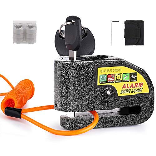 Candado Moto, BUDDYGO 110dB Alarma Antirrobo Impermeable Candado de Disco de Moto con 1.5m Cable Recordatorio y Candado Bolsa, 3 Llaves y 6 Batería Repuesto, Alarm Lock para Motocicletas Bicicletas