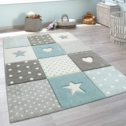 Paco Home Kinderteppich Kinderzimmer Punkte Herzen Sterne Pastell versch. Farben u. Größen, Grösse:120x170 cm, Farbe:Blau