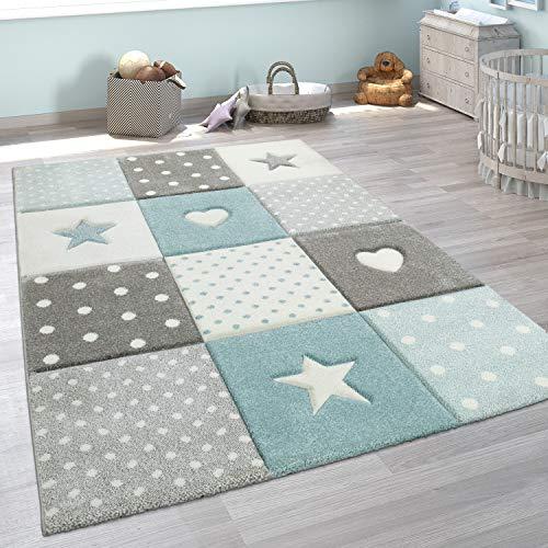 Paco Home Tappeto per Bambini A Quadri Cuori Stelle Diversi Colori e Misure, Dimensione:120x170 cm, Colore:Blu