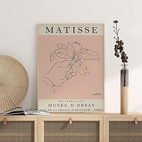 Matisse el regalo floral, cartel de exposición, arte lineal, impresión vintage, belleza, mujer, lienzo decorativo sin marco Q-82 20x30cm