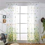 NIBESSER Gardinen Transparent Schlaufenschal Vorhänge Dekoschal Voile für Schlafzimmer Wohnzimmer Schmetterling 100×200cm (grün+gelb 2 Stück)