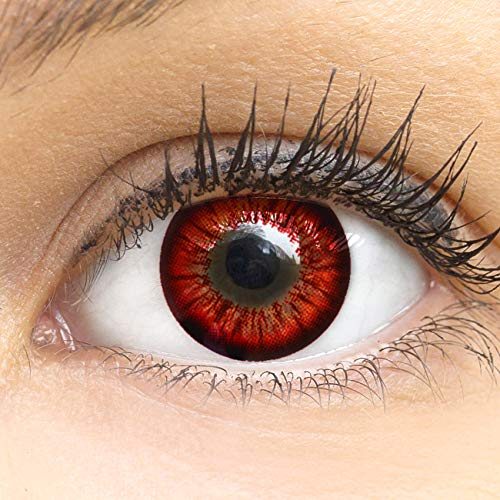 MeralenS Anime Manga Rote Circle Lenses - Sweet Rot ohne Stärke mit Kontaktlinsenbehälter - 15mm Farbige Big Eyes Contact Lenses