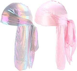 HADM Silky Durags for Men/Womens Waves Cap,Extra Long-Tail Hologram Headwraps for 360 Waves