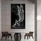 Dreamy Feather Wings Angel Sad Girl Game Diablo y Angel Lienzo Pintura Arte de la pared Póster Impresiones Dormitorio Sala de estar Sala de juegos Estudio Decoración para el hogar Mural