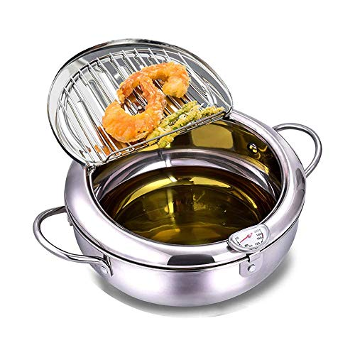 Tempura Deep Fryer Pot Japanese Style 304 Stainless Steel Uncoated Frying Pan with Temperature Control and Oil Drip Rack Lid For Frying Delicious Chicken/French Fries/Fish and Shrimp Mini Chip Pan (7.9in-2200ml)