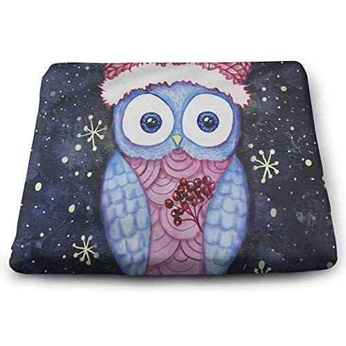 Holly Christmas Winter Owl Chair Seat Cushions Pads Memory Foam Office Dining Kitchen Soft Chair Cushion 1Piece for Pressure Relief, Wheelchairs, Patio, Cafe, Garden, Indoor, Non Slip