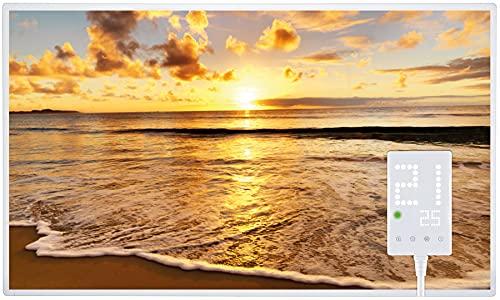 Heidenfeld Infrarotheizung HF-HP105 600 Watt Strand Fotomotiv + Steckdosenthermostat HF-DT100-10 Jahre Garantie - Deutsche Qualitätsmarke - TÜV GS - Für 8-16 m² Räume (600 Watt, Strand)