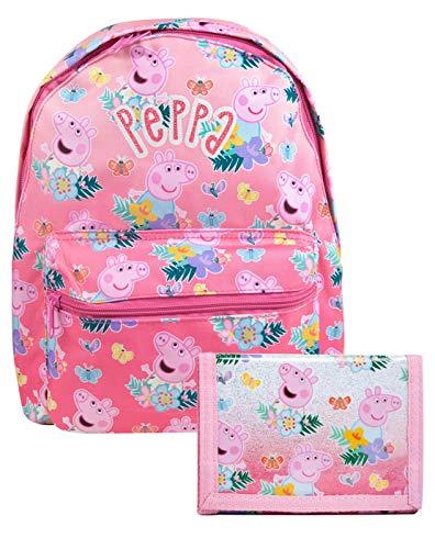 Peppa Pig All Over Imprimer Filles Sac à Dos et Wallet Bundle Cadeau en Rose