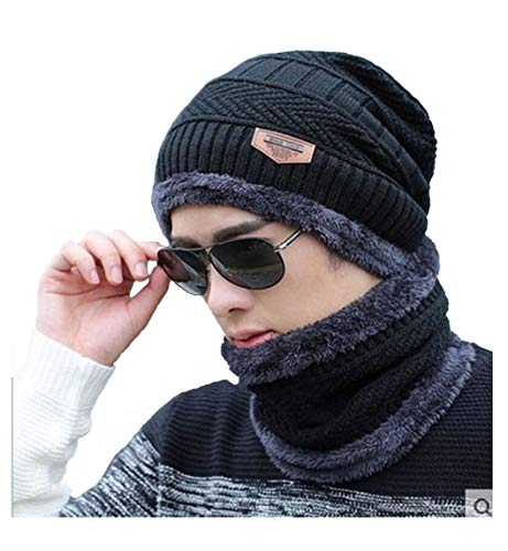 Alexvyan Premium Imported 1 Set Snow Proof (Inside Fur) Unisex Woolen Beanie Cap with Scarf for Men Women Girl Boy Warm and Soft (Black)