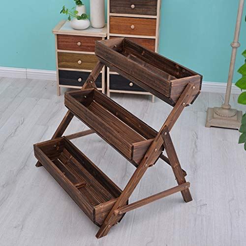 Wooden Flower Box, Plant Stand Can Be Planted Anticorrosive Wood Three Floors Balcony Garden Hall 78 58 71CM Household. (Color : #1, Size : 78 58 71CM)