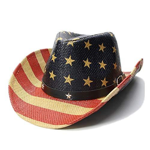 RongDuosi Vrouwen Mannen Straw Sun Beach Cowboy Cowboy Hoed Pentagram Zon Hoed Stripe Amerikaanse Vlag Roll-Up Sombrero Cap sunhat strandhoeden voor vrouwen zomer