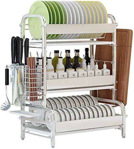 Yxsd - Escurridor de acero inoxidable 304, resistente, antideslizante, para utensilios de cocina de punto seco, caja de almacenamiento de vajilla, estantes de cocina (tamaño : estante de platos)