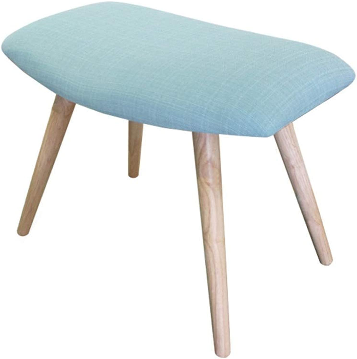 Footstool Premium Quality Comfortable Solid Wood Support Upholstered Footstool Chair Stool Fabric Cover 4Legs for Home & Commercial