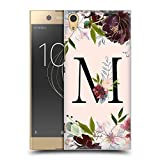 Head Hülle Designs Offizielle Nature Magick Buchstabe M Rose Gold Flowers Monogram 1 Harte Rueckseiten Huelle kompatibel mit Sony Xperia XA1 Ultra/Dual