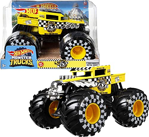 Hot Wheels Monster Trucks 1:24 Scale Vehicles, Collectible Die-Cast Metal Toy Trucks with Giant Wheels & Stylized Chassis, Gift for Kids Ages 3 Years Old & Up
