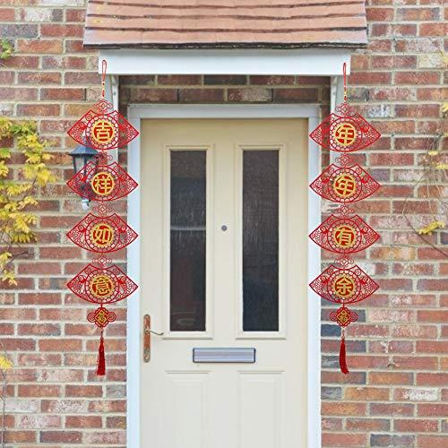 01 Glückverheißung Langlebige Dekoration, Filzstoff Chinesisches Neujahrsdekoration, Fenster Bürotür für Zuhause