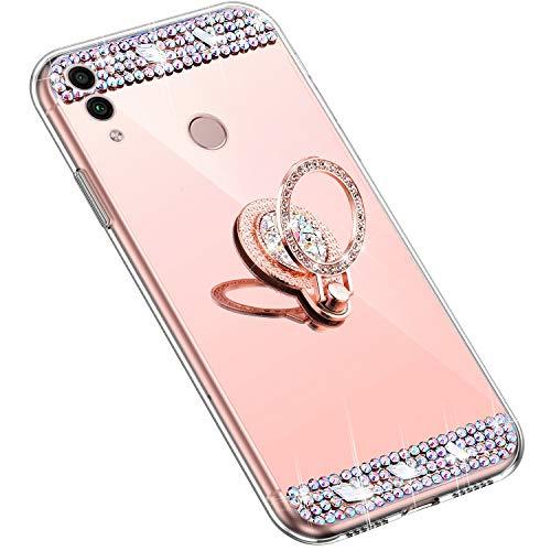 Uposao Kompatibel mit Huawei Honor 8X Handyhülle Strass Diamant Kristall Bling Glitzer Glänzend Spiegel Schutzhülle Mirror Case Silikon Hülle Tasche mit Ring Halter Ständer,Rose Gold