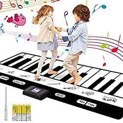 RenFox Musikmatte Klaviermatte Tanzmatten, 24 Tasten/Piano Spielteppich Matte Piano Mat fur Kinder Kleinkind Jungen Madchen 4 x AA Batterien enthalten(180 * 17 * 1 cm)