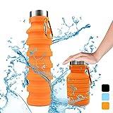 STLOVe Botella Plegable, Botella de Agua Plegable Suave Silicona de Grado Alimenticio Botella de Agua Deportiva para Viajar Alpinismo Ciclismo,para Ciclismo, Deporte, Exterior, Camping (Orange)