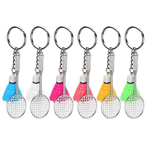 Oumefar 6Pcs Mini Racket Schlüsselanhänger Schlüsselring Anhänger Simulation Badminton Hängende Dekoration für Sportliebhaber Geschenkpreisset