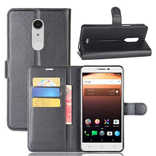 Tasche für Alcatel A3 XL Hülle, Ycloud PU Kunstleder Ledertasche Flip Cover Wallet Hülle Handyhülle mit Stand Function Credit Card Slots Bookstyle Purse Design schwarz