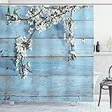 ABAKUHAUS Rustikal Duschvorhang, Frühlings-Blumen-Niederlassungen, Hochwertig mit 12 Haken Set Leicht zu pflegen Farbfest Wasser Bakterie Resistent, 175 x 200 cm, Weiß Hellblau