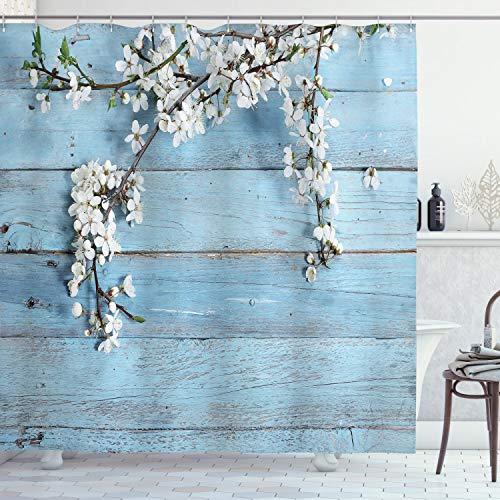ABAKUHAUS Rústico Cortina de Baño, Ramas de Primavera Flores, Material Resistente al Agua Durable Estampa Digital, 175 x 180 cm, Blanco Azul pálido