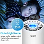 HOKEKI Air Purifier for Large Room with Air Quality Auto Sensor, True HEPA Air Cleaner Filter, 5-in-1 Odor Eliminator… 12 【Smart Air Quality Sensor & Indicator】This air freshener features unique AQ interface, built-in air quality sensor detects air quality at work, the interface will continuously diagnose the air and display the air quality level (blue-green-orange-red). you can adjust cleaning performance depending on the air quality. When the filters indicators light up, it is recommended to replace your filter every 4230 hours. 【5 in 1 Air Filter System】 3 speeds and 2 modes adjustment (low, medium, high speed, auto and sleep modes)in one button. In sleep mode, the noise is less than 29 dB, maximum noise below 52 dB at high speed. It is perfect for using in living rooms, bedrooms, children's rooms and offices. 【True HEPA Air Purifier】Equipped with pre-filter, HEPA filter, an activated carbon filter, easy to capture up dust, smoke, odor, pet dander and cooking around your living space and zero Ozone emission. The VK-6067B is suitable for rooms up to 18-31m², and the cleaning performance CADR (Clean Air Delivery Rate) is 220m³ / h3 fan speed and auto mode meet your needs.