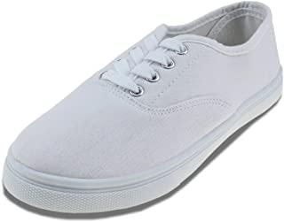 Maxu White Lace Up Sneakers Canvas Unisex Shoes(Little Kid/Big Kid)