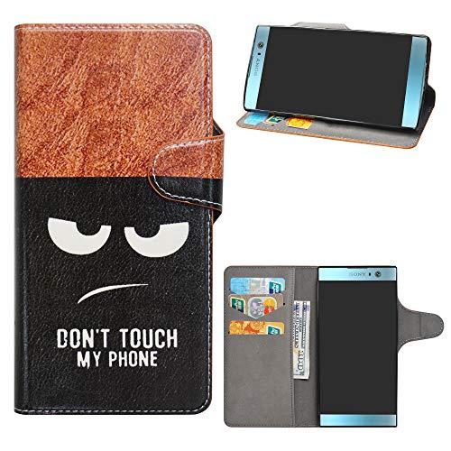 HHDY Sony Xperia XA2 Cover, Flip Wallet Case PU Pelle con Carte Slot Credito Portafoglio Supporto Stand Schema Custodia per Sony Xperia XA2,Don't Touch