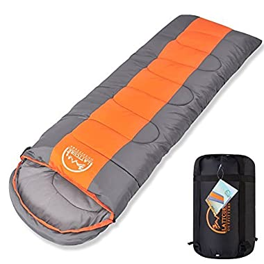 Sleeping Bag,LATTCURE Comfort Portable Lightweight Envelope Sleeping Bag with Compression Sack for Camping,Hiking,Backpacking,Traveling and Other Outdoor Activities -Single,Orange+Grey,(75 +12 )x33