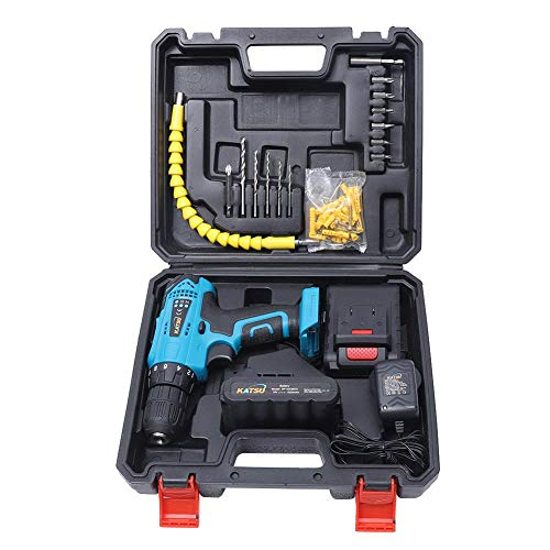 KATSU Cordless Drill Driver 18V with Accessories Kit + Flexible Shaft + Double Ended Bit + 5 Drill Bits + 6 Screwdriver Bits with 1 Extension + 2 Rechargeable Li-ion Batteries 1.5Ah + Charger + Case