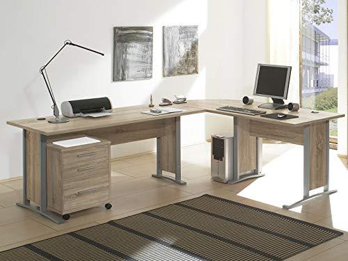 möbelando Schreibtisch-Kombination Winkelschreibtisch Bürotisch Arbeitstisch Clermont I Sonoma-Eiche
