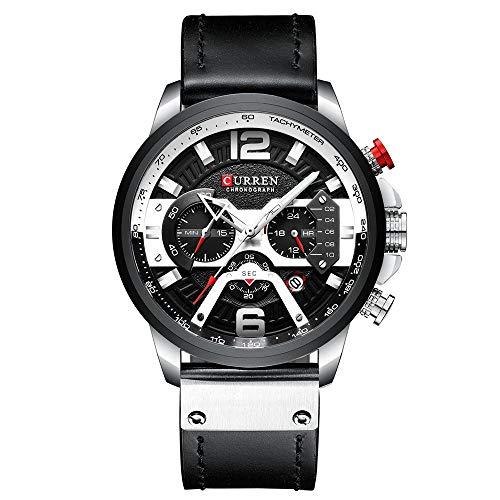 MUCXI 8329 Reloj para Hombre Reloj de Reloj de cinturón a Prueba de Agua Reloj de Cuarzo de Seis Manos (Color : White Shell Black)