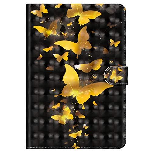 MoreChioce kompatibel mit Huawei Mediapad M3 Lite 10 Hülle,kompatibel mit Huawei Mediapad M3 Lite 10 Hülle Case, 3D Gold Schmetterling Leder Flip Case Brieftasche mit Auto Sleep/Wake Funktion,EINWEG