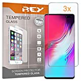 REY 3X Protector de Pantalla para Samsung Galaxy S10 5G, Cristal Vidrio Templado Premium