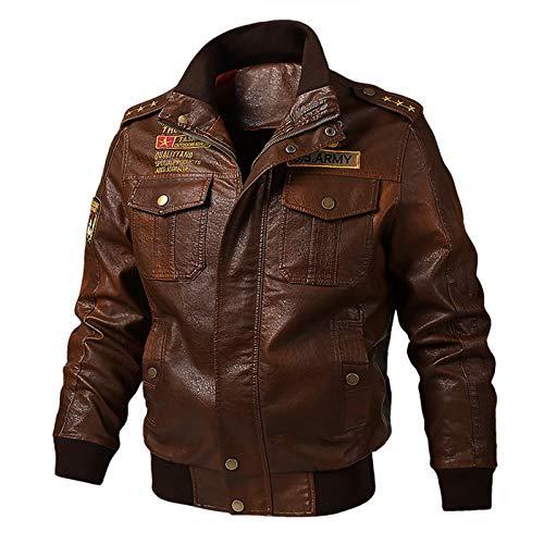 QQA Chaqueta Cuero Real Protección Moto para Hombre con Diseno De Hombros piloto-Bomber Leather Jacket,Marrón,XXXXL