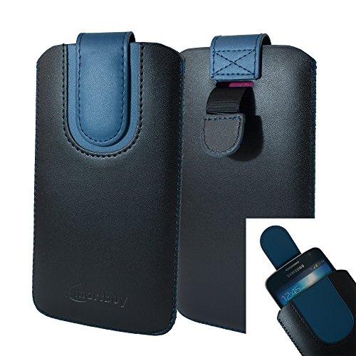 emartbuy Schwarz/Dunkelblau Premium PU Leder Slide in Pouch Hülle Cover Hülsenhalter Hulle (Größe LM4) mit Pull Tab Mechanismus Kompatibel mit Smartphones Aufgeführt Unten
