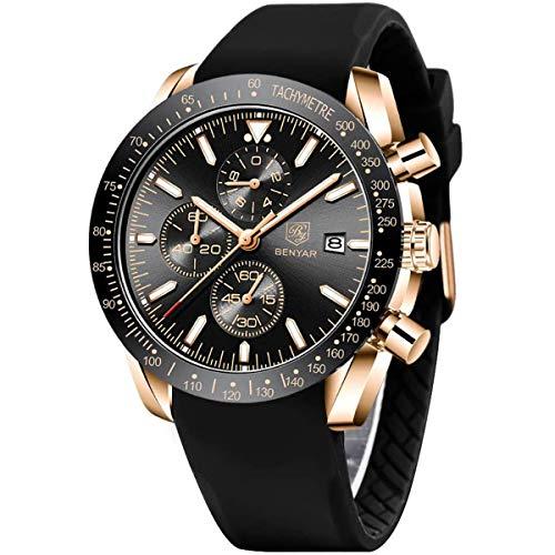 BY BENYAR Orologio Cronografo da Uomo Movimento al Quarzo Cinturino in Silicone Moda Sportivo Watch 30M impermeabile Elegante...