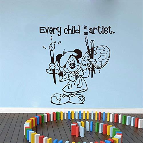 TJJF Every Child Is An Artist Nursery Inspiration Sticker Art Decor Cartoon Cute Nursery Kids Room Etiqueta de la pared