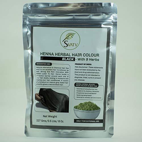 SVATV Henna Color de cabello NEGRO con 9 Hierbas II Cabello Mehndi, Color de cabello natural II 227g, 0.5 lb, 08 oz
