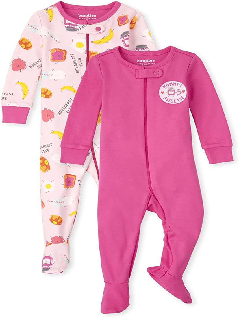 The Children's Place Baby Toddler Girl Breakfast Snug Fit Cotton One Piece Pajamas 2-Pack