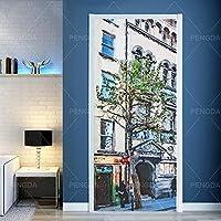 3Dドアステッカーポスタードアビルディングレトロ壁画子供部屋幼稚園寝室ホテル装飾ドアウォールステッカー-2-77X200Cm