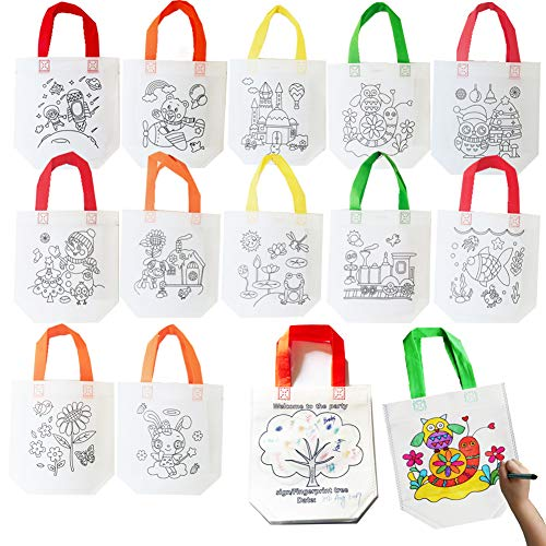 Sandflower Eco Reusable Coloring Carnival Animal Art Party Goodie Bags with Guestbook Bags (12 PCS )