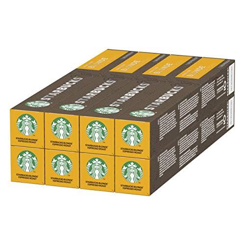Starbucks BLONDE Espresso Roast de NESPRESSO Cápsulas de café de tostado suave, 8 x tubo de 10unidades