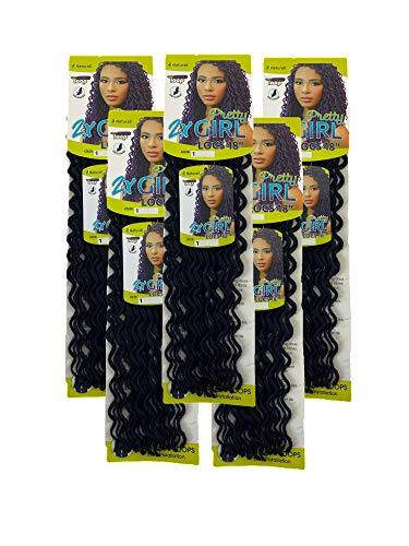 2X Pretty Girl Faux Locs Crochet Hair Naturall Braid Series - Premium Synthetic Quality 5Packs (18, 1)