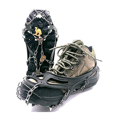 Unisex 19 Dientes de Acero Inoxidable Anti-Deslizamiento de Hielo Grapas del Hielo Pinzas de Zapatos de Arranque apretones crampones Nieve Spikes apretones de tracción Grapas,XL