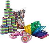 PEARL Luftschlangen: Kunterbuntes Partyset mit Konfetti-Frisbees (Party Deko)