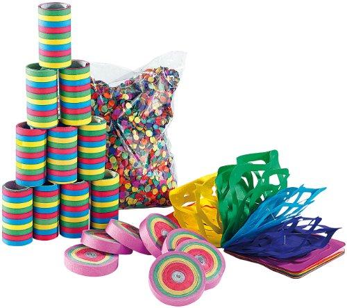 PEARL Luftschlangen: Kunterbuntes Partyset mit Konfetti-Frisbees (Partydeko)